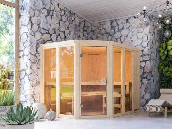 Sauna Systemsauna SPARSET Mabe inkl. 9 kW Saunaofen mit ext. Steuerung, bronzierte Glastür