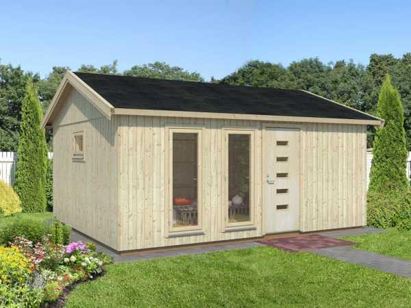 Gartenhaus Blockbohlenhaus Charlotte 21,5 m² 18+95 mm naturbelassen