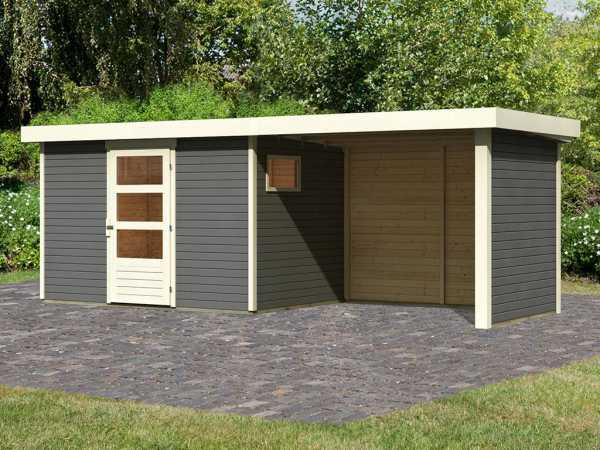 Gartenhaus SET Oburg 4 19 mm terragrau, inkl. 2,8 m Anbaudach + Seiten- & Rückwand