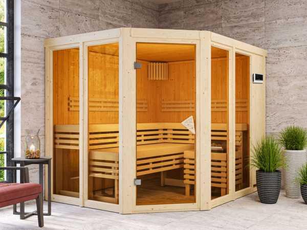 Sauna Ainur mit bronzierter Glastür + 9 kW Bio-Kombiofen mit ext. Strg.