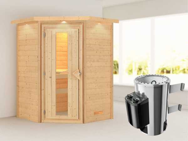 Sauna Massivholzsauna Alicja mit Dachkranz, Energiespartür + Plug & Play Ofen mit Steuerung