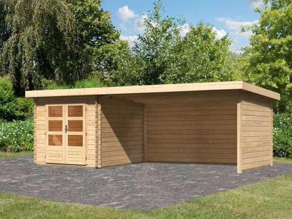 Gartenhaus BBH SET Bastrup 4 28 mm naturbelassen, inkl. 4,0 m Anbaudach + Seiten- und Rückwand