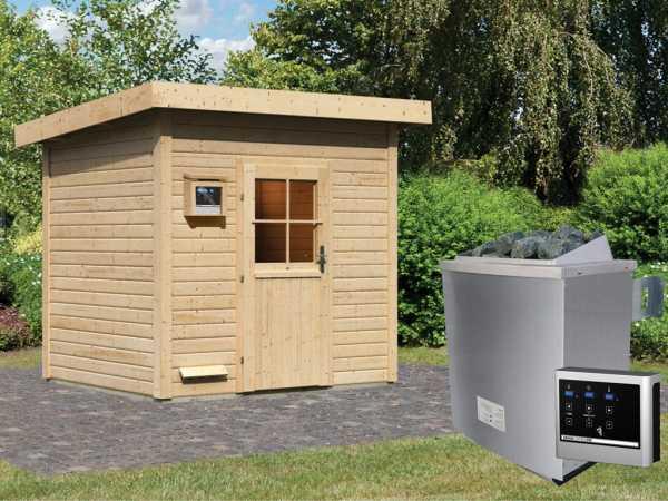 Saunahaus Nella mit Holztür, inkl. 9 kW Saunaofen mit externer Steuerung