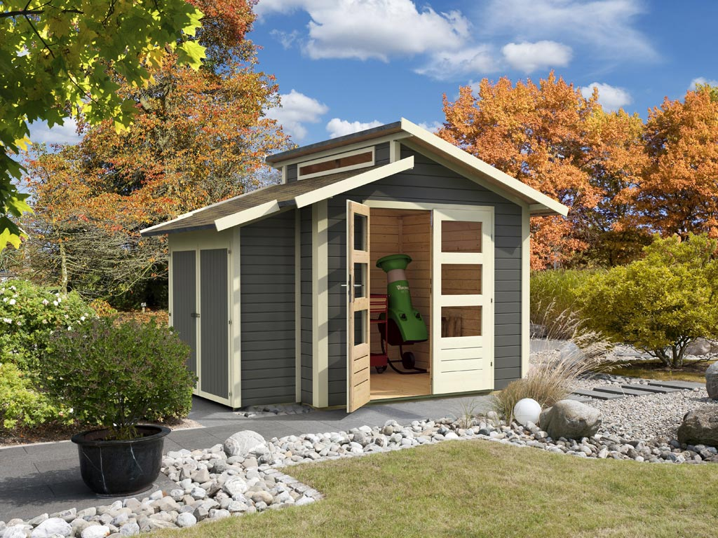 gartenhaus sparset gr nelo classic 28 mm terragrau inkl. Black Bedroom Furniture Sets. Home Design Ideas