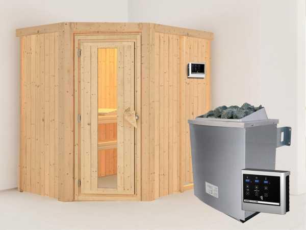 """Systemsauna """"Carin"""" Holztür mit Isolierglas, inkl. 9 kW Saunaofen ext. Steuerung"""