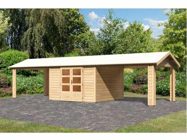 Gartenhaus SET Tastrup 7 28 mm naturbelassen inkl. 2 Dachausbauelemente