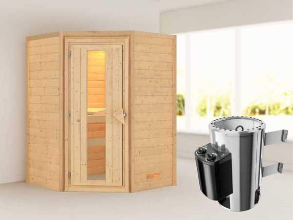 Sauna Massivholzsauna Alicja Energiespartür + Plug & Play Saunaofen mit Steuerung