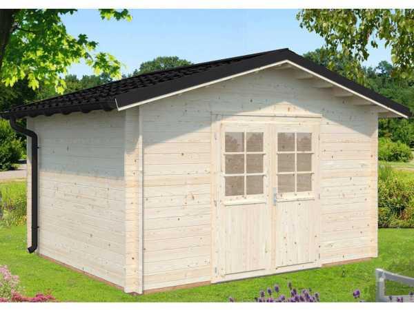 """Gartenhaus Blockbohlenhaus """"Tina"""" 10,4 m² 34 mm naturbelassen"""