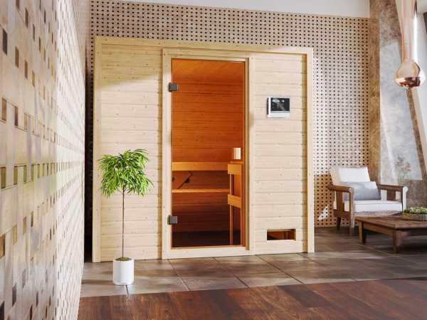 """Sauna """"Adelina"""" mit bronzierter Glastür + 9 kW Saunaofen ext. Strg."""