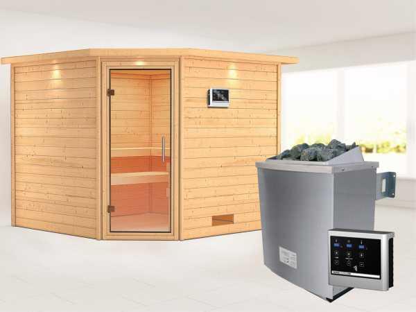 Sauna Massivholzsauna Leona mit Dachkranz, Klarglas Ganzglastür + 9 kW Saunaofen mit ext. Strg