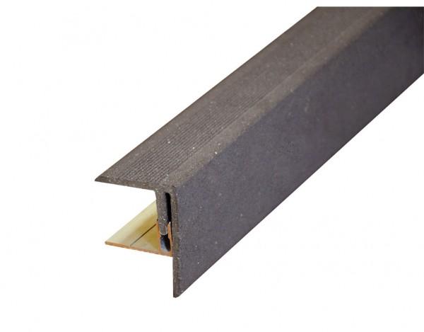 WPC Seitenabschluss inkl. Alu Befestigung graubraun gebürstet