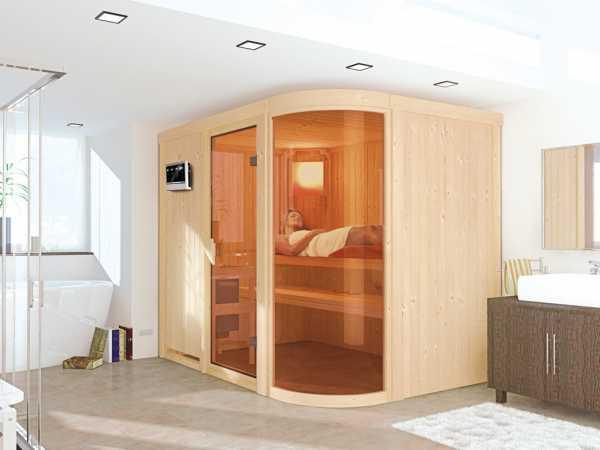 Sauna Systemsauna Parima 4 inkl. 9 kW Bio-Kombiofen ext. Steuerung