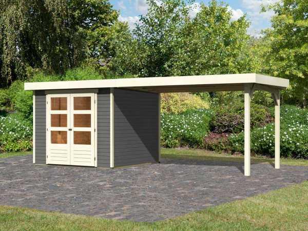 Gartenhaus SET Askola 3,5 19 mm terragrau, inkl. 2,8 m Anbaudach