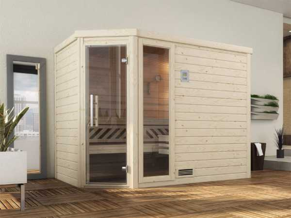 Sauna Massivholzsauna Turku 3 GTF graphit Ganzglastür und Fensterelement