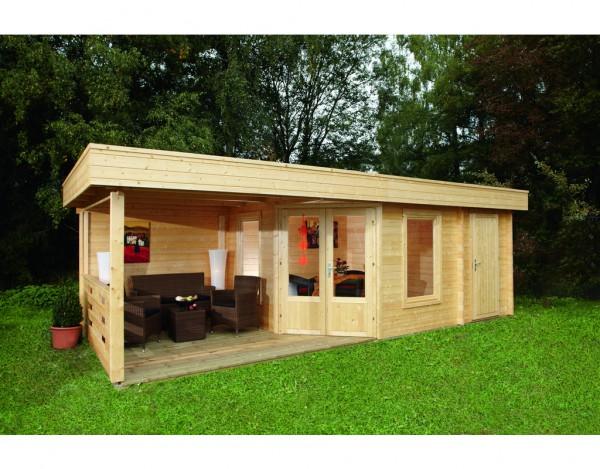 gartenhaus blockbohlenhaus maja 40 b 2 mit terrasse 40 mm naturbelassen wf0949. Black Bedroom Furniture Sets. Home Design Ideas