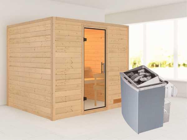 Sauna Massivholzsauna Karla Klarglas Ganzglastür + 9 kW Saunaofen mit Steuerung