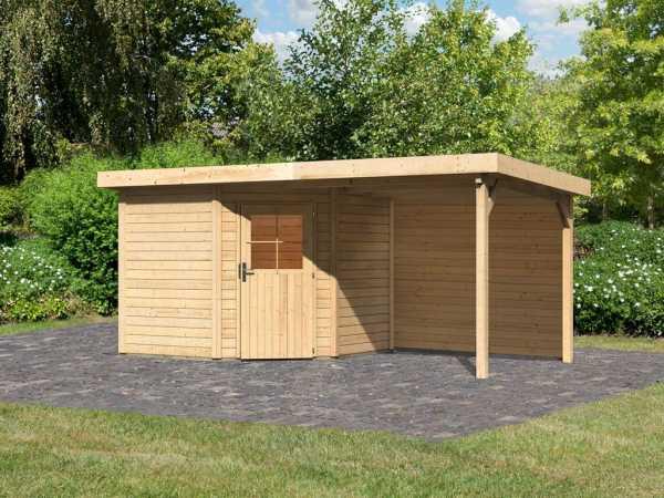 Gartenhaus SET Neuruppin 2 28 mm naturbelassen, inkl. 2,6 m Anbaudach + Rückwand