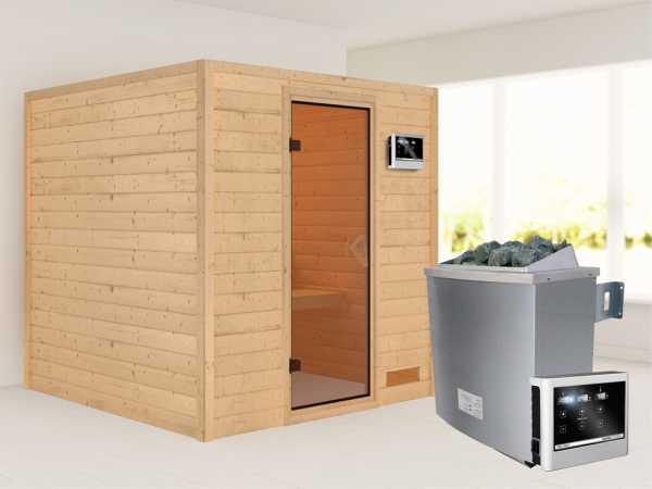 """Sauna Massivholzsauna """"Nora"""" bronzierte Ganzglastür + 9 kW Saunaofen mit ext. Strg"""