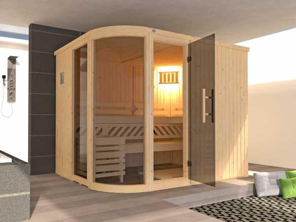 Sauna Elementsauna SPARSET Sara 2 inkl. 9,0 kW Bio-Ofen mit ext. Steuerung + Anschlusskabel