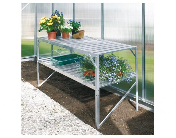 Gewächshaus Zubehör Aluminium-Tisch mit 2 Ebenen, Aluminium-blank eloxiert