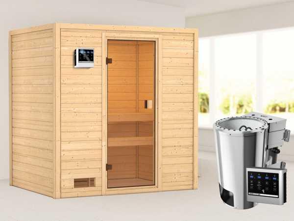Sauna Selena mit bronzierter Glastür + 3,6 kW Plug & Play Bio-Ofen ext. Strg.