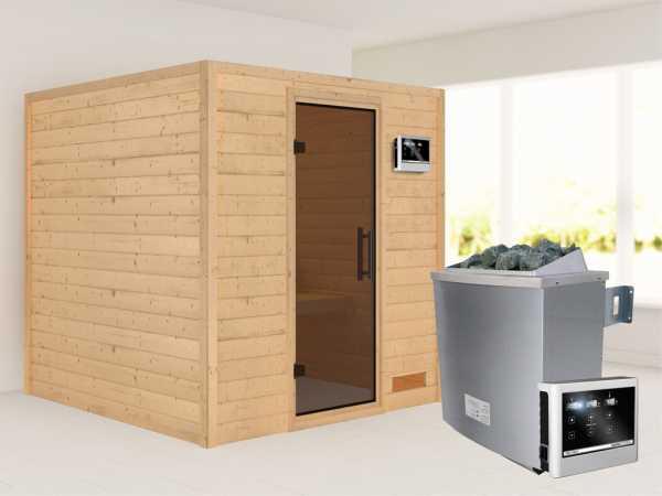 """Sauna Massivholzsauna """"Nora"""" graphit Ganzglastür + 9 kW Saunaofen mit ext. Strg"""