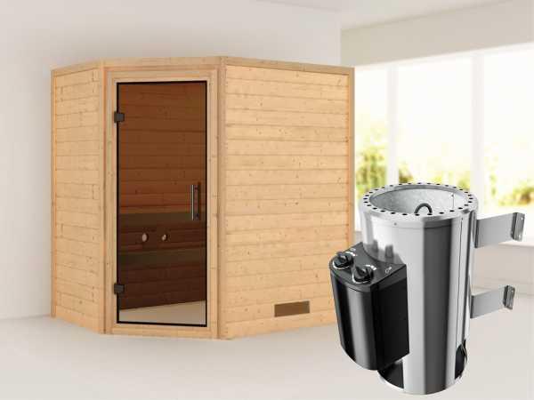 Sauna Massivholzsauna Cilja graphit Ganzglastür + Plug & Play Saunaofen mit Steuerung