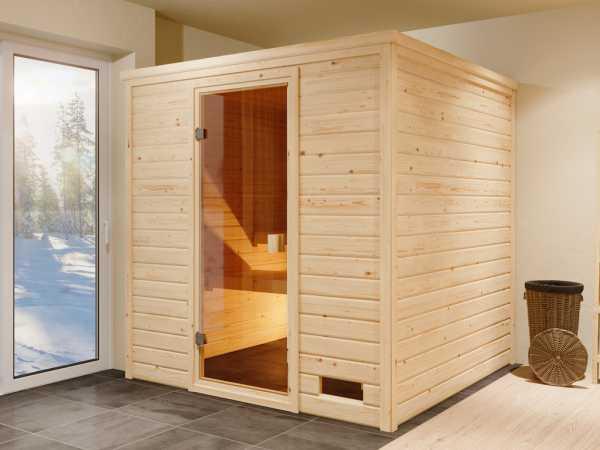"""Sauna Systemsauna """"Valida 5"""" bronzierte Ganzglastür inkl. 9 kW Saunaofen mit ext. Steuerung"""