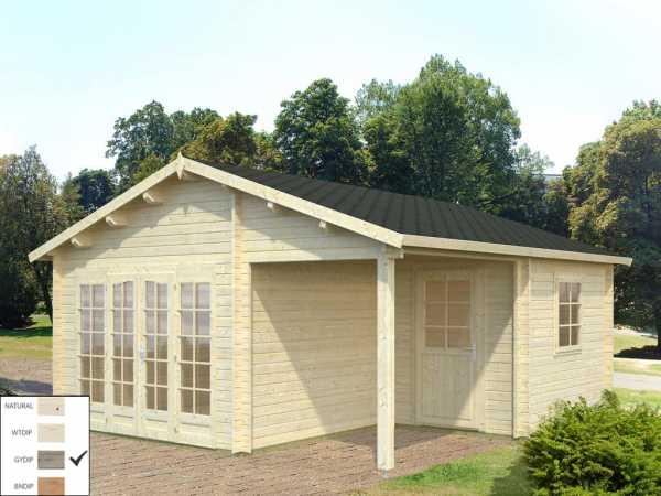 Gartenhaus Blockbohlenhaus Irene 21,9+5,2 m² 44 mm grau tauchimprägniert