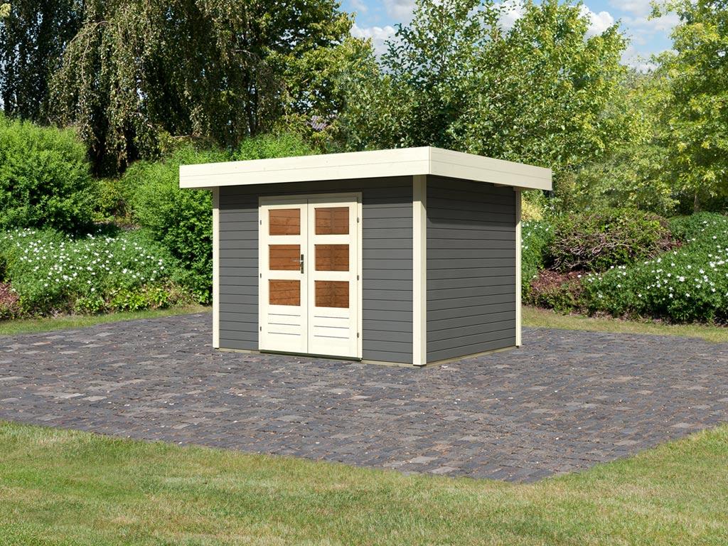 gartenhaus sparset multi cube 3 classic 28 mm terragrau inkl selbstklebende dachfolie ka5080. Black Bedroom Furniture Sets. Home Design Ideas