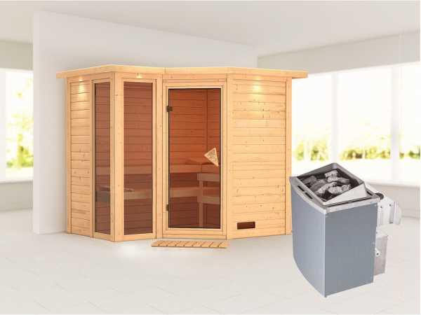 Sauna Massivholzsauna Amara mit Dachkranz inkl. 9 kW Saunaofen integr. Steuerung
