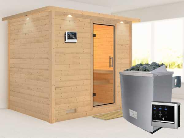 Sauna Massivholzsauna Sonara mit Dachkranz, Klarglas Ganzglastür + 9 kW Saunaofen mit ext. Strg