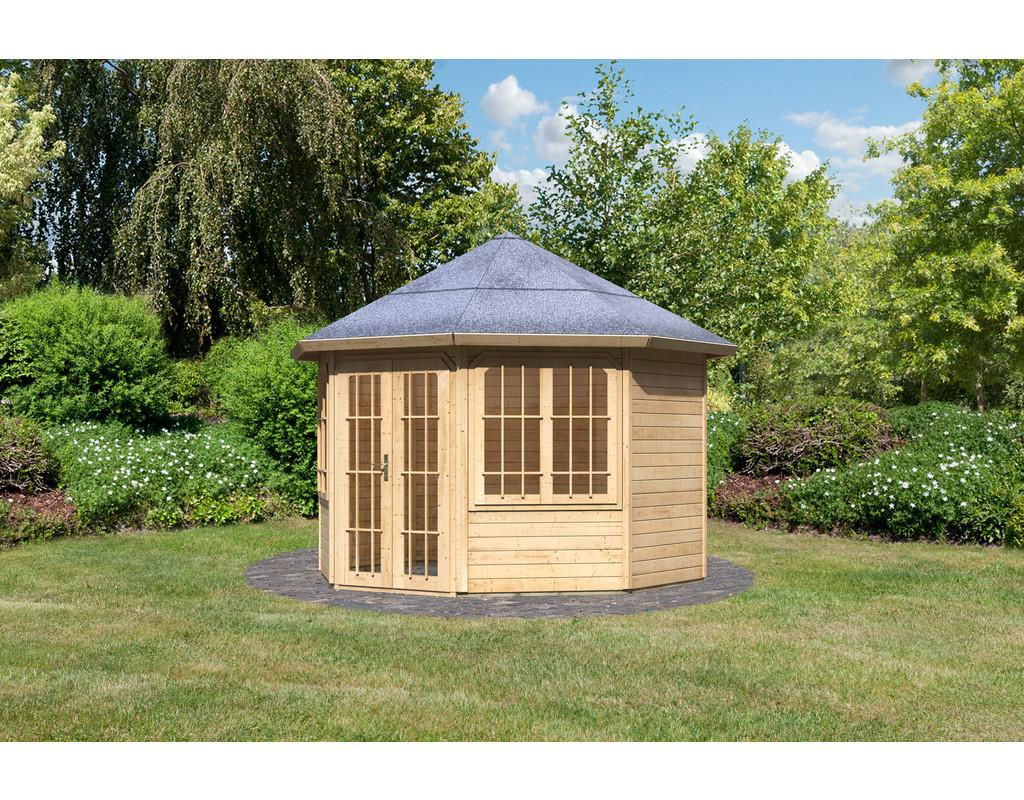 pavillon rom 2 premium naturbelassen 8 eckig holzpavillon garten holzprofi24. Black Bedroom Furniture Sets. Home Design Ideas