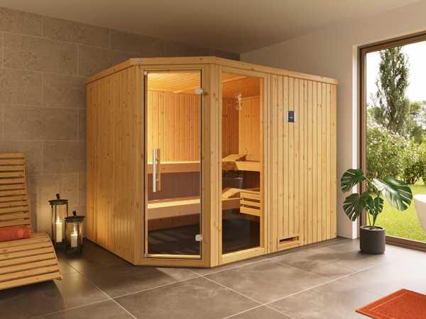 Sauna Systemsauna Varberg 4 mit graphit Holztür & Fenster