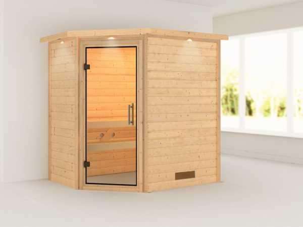 Sauna Massivholzsauna Svea mit Dachkranz, Klarglas Ganzglastür