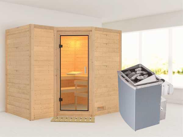 Sauna Massivholzsauna Sahib 2 Klarglas Ganzglastür + 9 kW Saunaofen mit Steuerung