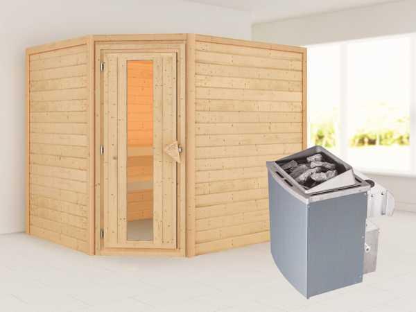 Sauna Lisa mit Energiespartür + 9 kW Saunaofen integr. Strg.