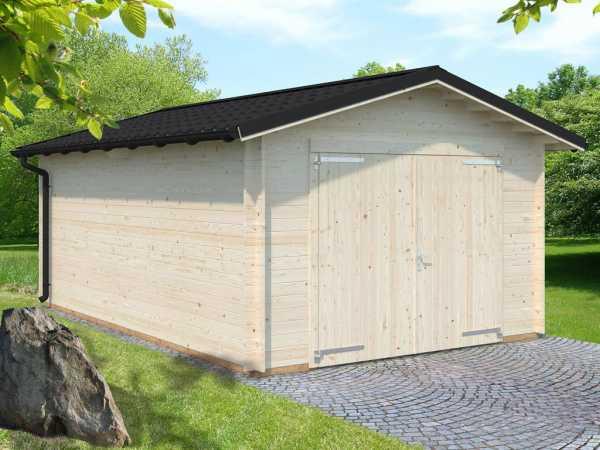 Garage Tomas 19,2 m² mit Holztor 34 mm transparent tauchimprägniert