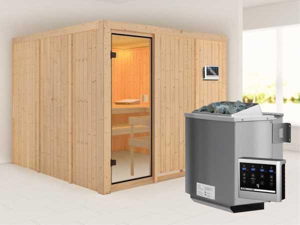 """Sauna """"Arvika"""" mit bronzierter Glastür + 9 kW Bio-Kombiofen mit ext. Strg."""