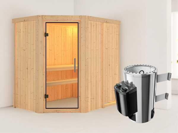 Sauna Systemsauna Saja Klarglas Ganzglastür + Plug & Play Saunaofen mit Steuerung