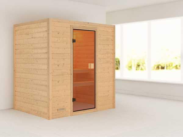 Sauna Massivholzsauna Sonja bronzierte Ganzglastür