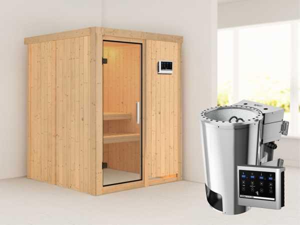 Sauna Systemsauna Minja Klarglas Ganzglastür + Plug & Play Bio-Ofen mit externer Steuerung