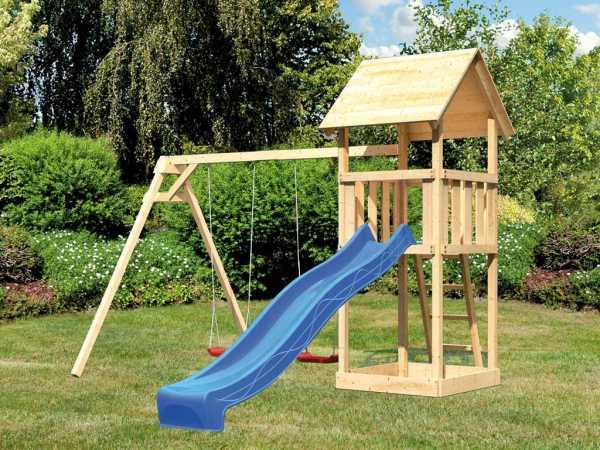 Spielturm Set Lotti naturbelassen inkl. Rutsche blau und Doppelschaukel