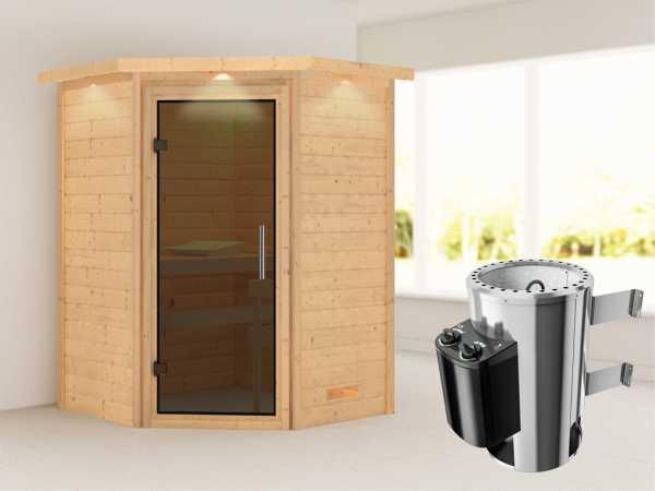"""Sauna Massivholzsauna """"Alicja"""" mit Dachkranz, graphit Ganzglastür + Plug & Play Ofen mit Steuerung"""