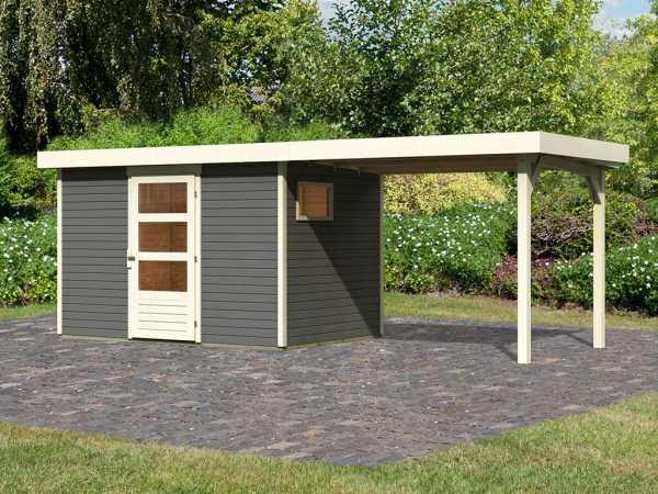 Gartenhaus SET Oburg 4 19 mm terragrau, inkl. 2,8 m Anbaudach