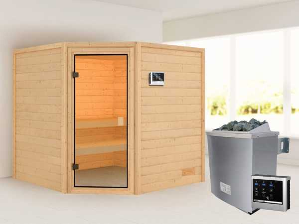 Sauna Tilda mit bronzierter Glastür + 9 kW Saunaofen ext. Strg.