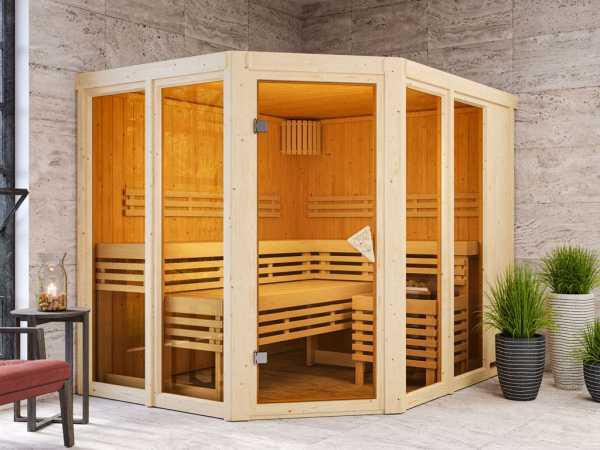 Sauna Ainur mit bronzierter Glastür + 9 kW Saunaofen integr. Strg.