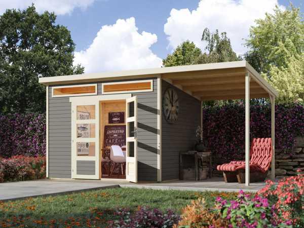 Gartenhaus Venlo C Titangrau 19 mm mit Seitendach Elfenbeinweiß