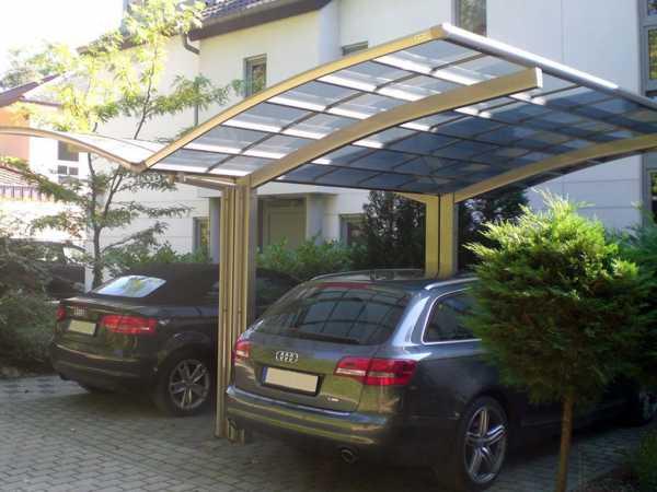Carport Portoforte Typ 170 Y-Ausführung Edelstahl-Look