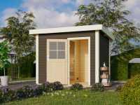 Saunahaus Suva Z Grau mit Holztür